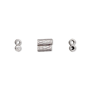 clasp, jbb findings, slide, antiqued sterling silver, 7.5x6mm textured double-round tube, fits 1.5mm cord. sold per 2-piece set.