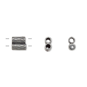 clasp, jbb findings, slide, gunmetal-plated brass, 7x6.5mm textured double-round tube, fits 2mm cord. sold per 2-piece set.