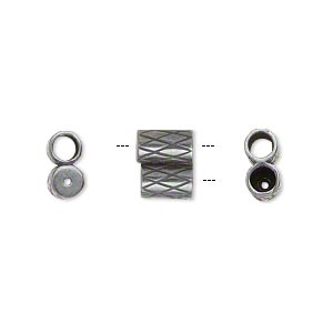 clasp, jbb findings, slide, gunmetal-plated brass, 9x7.5mm textured double-round tube, fits 3mm cord. sold per 2-piece set.