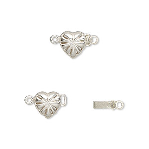 clasp, jbb findings, tab, sterling silver, 7.5x7.5mm heart with star pattern. sold individually.