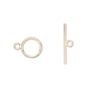 clasp, jbb findings, toggle, 12kt gold-filled, 10mm round. sold individually.