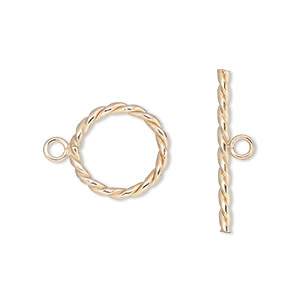 clasp, jbb findings, toggle, 12kt gold-filled, 14mm round with twisted design. sold individually.