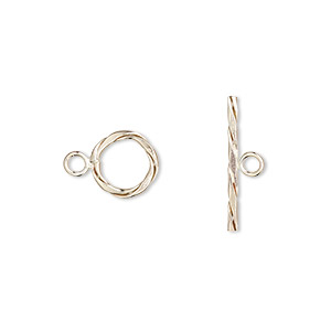 clasp, jbb findings, toggle, 14kt gold-filled, 11mm twisted round. sold individually.