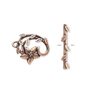 clasp, jbb findings, toggle, antique copper-plated brass, 16x15mm fancy flower and vine. sold individually.