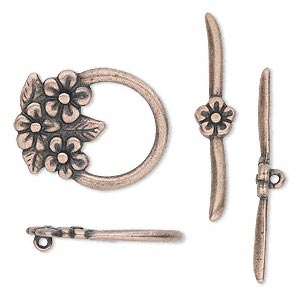 clasp, jbb findings, toggle, antique copper-plated pewter (tin-based alloy), 23x18.5mm single-sided flower. sold individually.