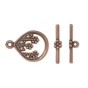 clasp, jbb findings, toggle, antique copper-plated pewter (tin-based alloy), 17.5x15mm single-sided teardrop with three flowers. sold individually.