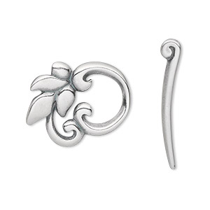 clasp, jbb findings, toggle, antique silver-plated pewter (tin-based alloy), 22x20mm single-sided round leaf. sold individually.