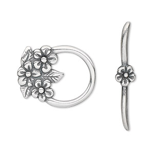 clasp, jbb findings, toggle, antique silver-plated pewter (tin-based alloy), 23x18.5mm single-sided flower. sold individually.