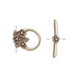 clasp, jbb findings, toggle, antiqued brass, 16x13mm round with 3 flowers. sold individually.