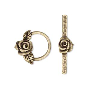 clasp, jbb findings, toggle, antiqued brass, 17.5x16.5mm round with rose and leaves. sold individually.