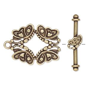 clasp, jbb findings, toggle, antiqued brass, 24x20mm butterflies. sold individually.