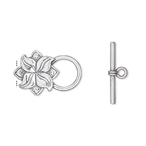 clasp, jbb findings, toggle, antiqued sterling silver, 14x13mm flower. sold individually.