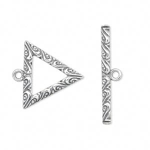 clasp, jbb findings, toggle, antiqued sterling silver, 20x20x20mm single-sided triangle with swirl design. sold individually.