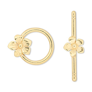 clasp, jbb findings, toggle, gold-plated pewter (tin-based alloy), 23x18mm single-sided round with flower. sold individually.