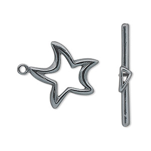 clasp, jbb findings, toggle, gunmetal-plated pewter (tin-based alloy), 20x20mm double-sided star. sold individually.