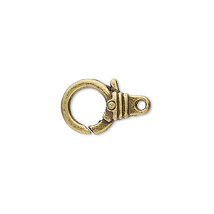 clasp, lobster claw, antique brass-plated pewter (zinc-based alloy), 15x12mm with double-sided ribbed design. sold per pkg of 8.