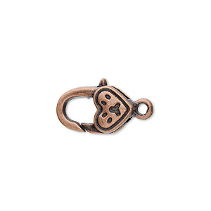 clasp, lobster claw, antique copper-plated pewter (zinc-based alloy), 17x10mm with double-sided paw heart design. sold per pkg of 8.
