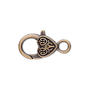 clasp, lobster claw, antique copper-plated pewter (zinc-based alloy), 20x13mm with double-sided fancy heart design. sold per pkg of 8.