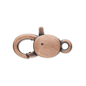clasp, lobster claw, antique copper-plated pewter (zinc-based alloy), 25x13mm with double-sided smooth design. sold per pkg of 6.