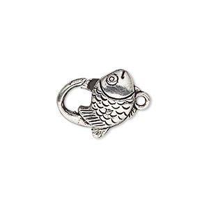 clasp, lobster claw, antique silver-plated pewter (zinc-based alloy), 17x12mm with double-sided fish design. sold per pkg of 8.
