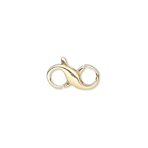 clasp, lobster claw, vermeil, 15.5x7.5mm infinity. sold individually.