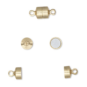clasp, magnetic barrel, gold-finished brass, 6x5mm. sold per pkg of 100.