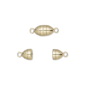 clasp, magnetic, gold-finished brass, 10x5mm oval. sold per pkg of 10.