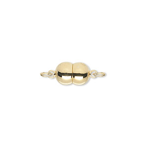 clasp, magnetic, gold-plated brass, 11x7mm double round. sold individually.
