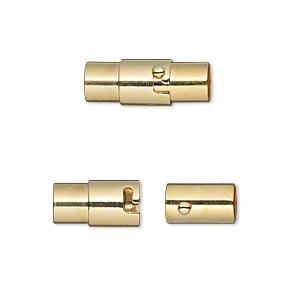 clasp, magnetic, gold-plated brass, 18x7mm locking round tube with glue-in ends, 5mm inside diameter. sold per pkg of 2.