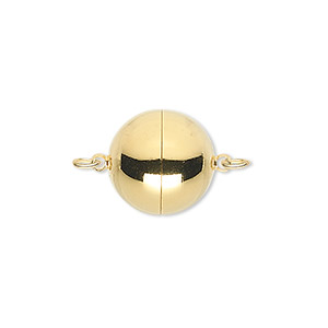 clasp, magnetic, gold-plated copper, 14mm round. sold individually.