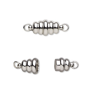 clasp, magnetic, imitation rhodium-plated brass, 13x8mm swirl oval. sold individually.