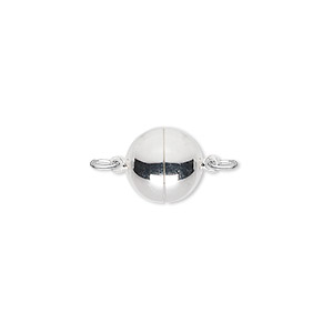 clasp, magnetic, silver-plated brass, 10mm round. sold individually.