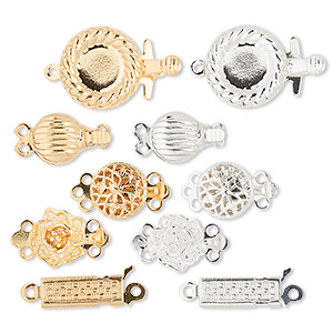 clasp mix, tab, gold- and silver-plated brass, approximately 8-12mm fancy mixed shape. sold per pkg of 50.