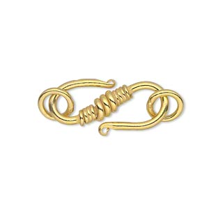 clasp, s-hook, gold-finished copper, 25x11mm with (2) 8mm jumprings. sold per pkg of 4.