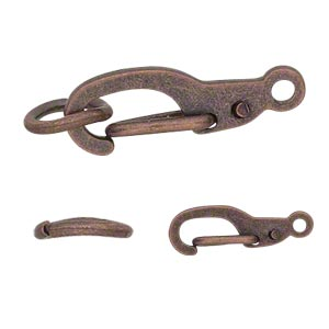clasp, self-closing hook, antique copper-finished brass, 11x5mm with 5mm jumpring. sold per pkg of 12.