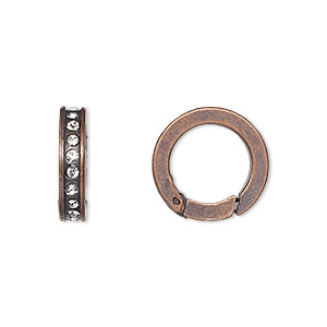 clasp, self-closing hook, glass rhinestone and antiqued copper-finished pewter (zinc-based alloy), clear, 16mm round. sold per pkg of 2.
