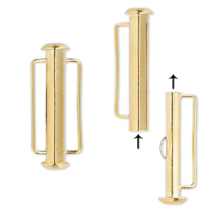 clasp, slide lock, gold-plated brass, 26x6mm round tube, 18x2mm inside diameter. sold per pkg of 4.