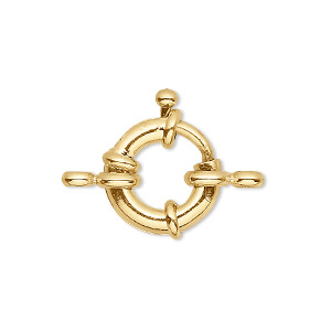 clasp, springring, gold-finished brass, 15mm nautical design with loop. sold per pkg of 10.