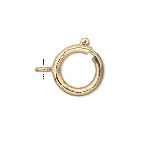 clasp, springring, gold-finished brass, 16mm round. sold per pkg of 12.