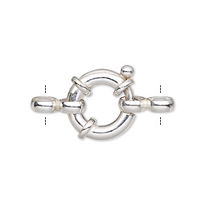 clasp, springring, sterling silver and steel, 16mm round with 2 double rings. sold individually.