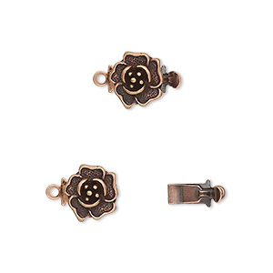 clasp, tab, antique copper-plated brass, 9mm rose. sold per pkg of 10.