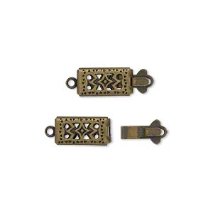 clasp, tab, antique gold-plated brass, 11x6mm double-sided filigree rectangle. sold per pkg of 10.