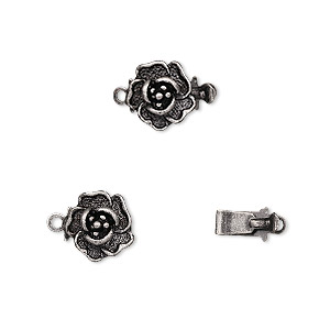 clasp, tab, antique silver-plated brass, 9x9mm rose. sold per pkg of 10.