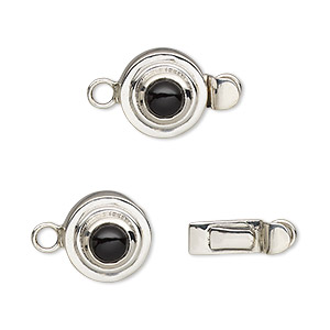 clasp, tab, black onyx (dyed) and sterling silver, 11mm round with 5mm round. sold individually.