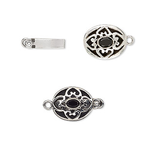clasp, tab, black onyx (dyed) and sterling silver, 18x15mm oval with 6x4mm faceted oval. sold individually.