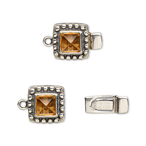 clasp, tab, citrine (heated) and antiqued sterling silver, 11x11mm square with 6x6mm faceted square. sold individually.