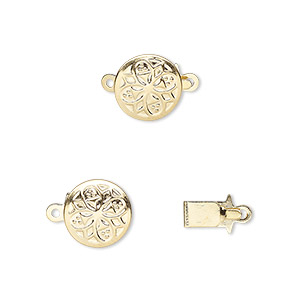 clasp, tab, gold-plated brass, 10mm round with flower design. sold per pkg of 100.