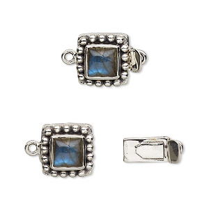 clasp, tab, labradorite (natural) and antiqued sterling silver, 11x11mm square with 6x6mm domed square. sold individually.