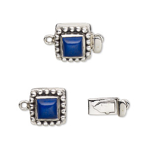 clasp, tab, lapis lazuli (natural) and antiqued sterling silver, 11x11mm square with 6x6mm domed square. sold individually.
