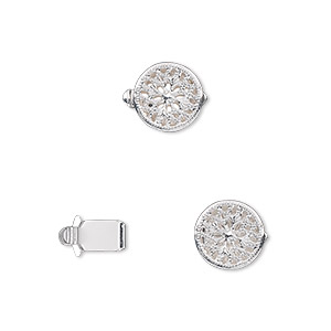 clasp, tab, silver-plated brass, 9mm filigree round. sold per pkg of 100.